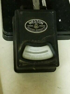 Vintage Weston Portable Compact 0-10 Microamperes Meter 6 Tall Metal Case