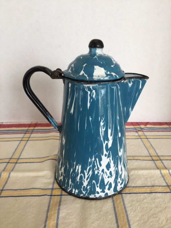Vintage Blue And White Swirl Graniteware Enamelware Coffee Pot With Hinged Lid