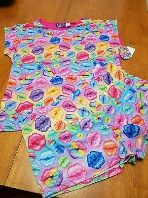 (NEW Lisa Frank Pajamas Set (T Shirt and Shorts) Rainbow Lips Kisses, Size  Large)