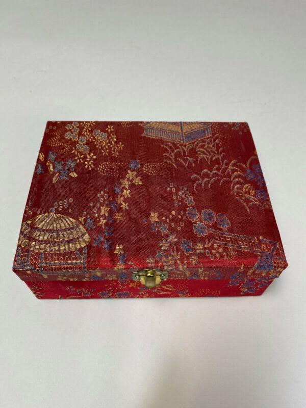 Vintage Miniature Chinese(Yi Wen Ci Ye) 9 Piece Tea Set in Red Brocade Box NIB