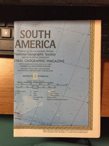 1972 NATIONAL GEOGRAPHIC MAP OF SOUTH AMERICA