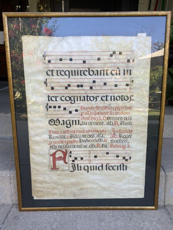Medieval Illuminated Vellum Antiphonary Manuscript Latin 16th-17th Century
