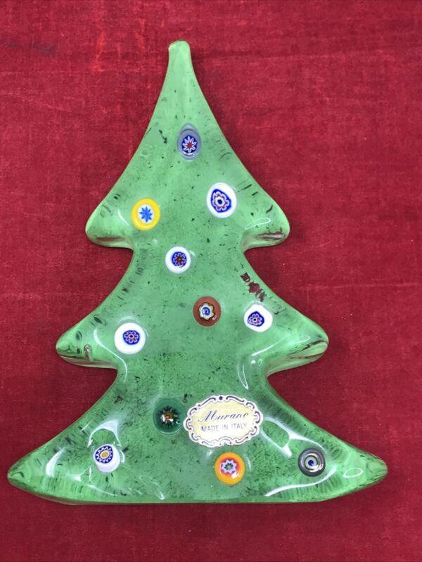 Murano Millefiori Multi colored Christmas Tree Paper Weight Italy