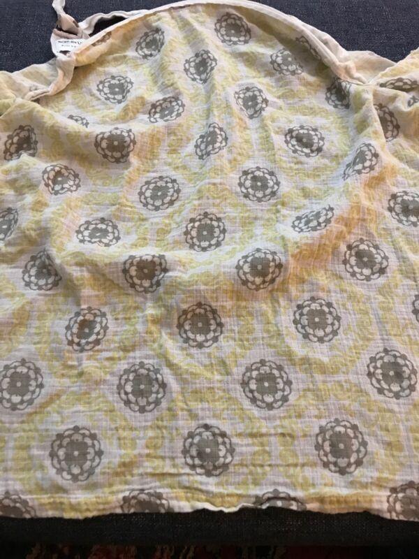 Bebe au Lait Nursing Cover Yellow and Gray Muslin 100% Cotton Breastfeeding
