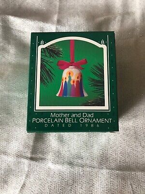 Hallmark Mother and Dad Porcelain Bell Ornament 1986 Christmas Tree Decoration