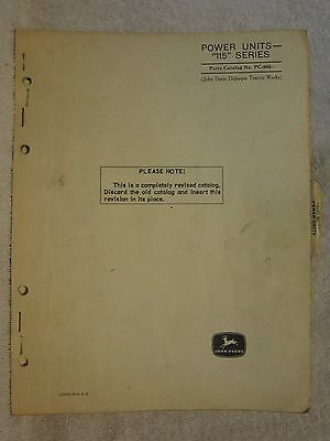 Vintage John Deere Series 115 Power Unit Engine Parts Catalog Manual