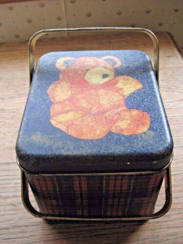 Vintage HENCO hinged plaid teddy bear basket tin.Wonderful for Valentine.  Rare!