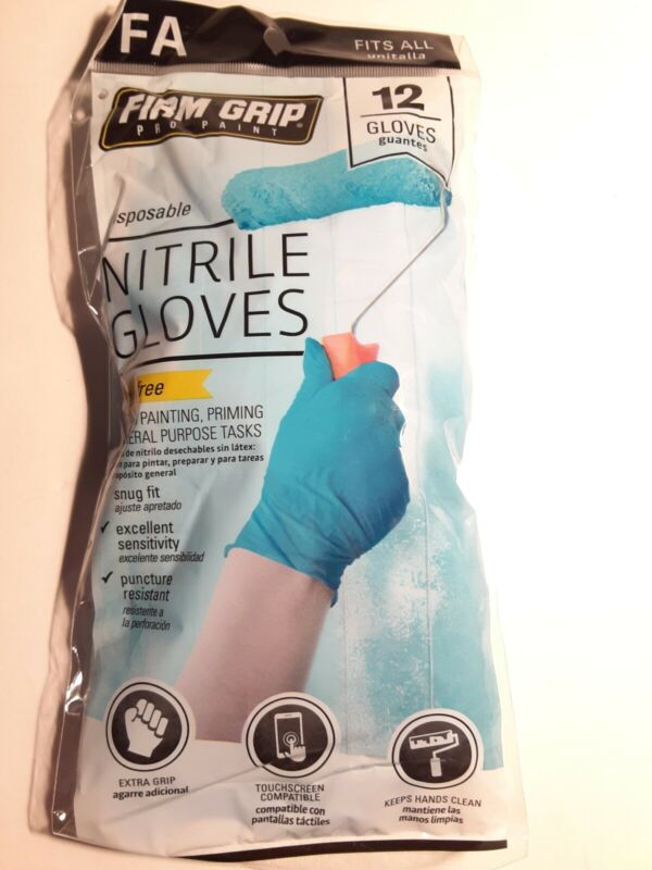 Disposable Nitrile Gloves 12 Pack Firm Grip (12 individual Gloves)
