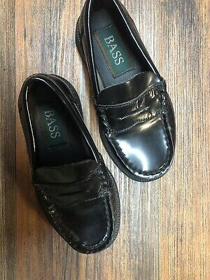 EUC - Boys Bass Black Leather Penny Loafer Shoes Size 9M Bass Kids Shoes