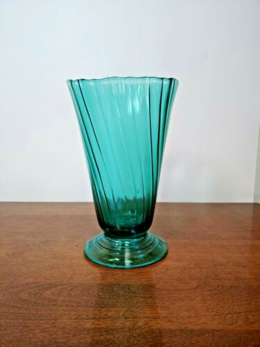JEANNETTE PETAL SWIRL ULTRAMARINE FOOTED VASE - BEAUTIFUL