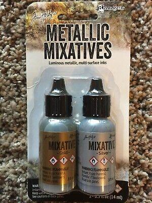 Tim Holtz® Alcohol Ink Metallic Mixatives, Gold & Silver 21247 NEW