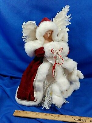 """Angel Xmas Tree Topper Mrs Santa Claus Doll Wings Red White 15"""" Ornament"""