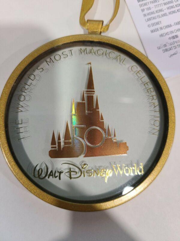 **IN-HAND** Walt Disney World 50th Anniversary Round Glass Ornament - NWT