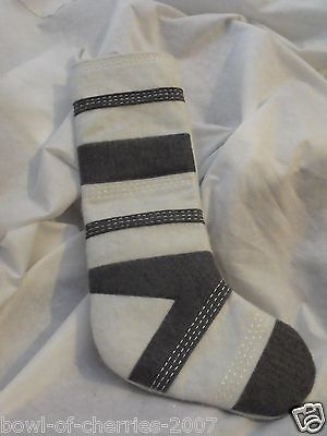 "Christmas Stocking, Gray and White Wool, About 24"" Top to Toe Tip"