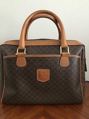 CÉLINE Vintage Macadam Monogram Leather & Canvas Boston Bag : Made in Italy