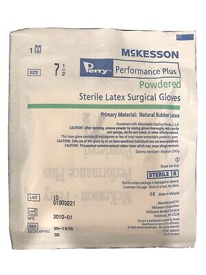 Mckesson Perry Latex Surgical Gloves Size 7.5 Sterile - 1 Pair Usa