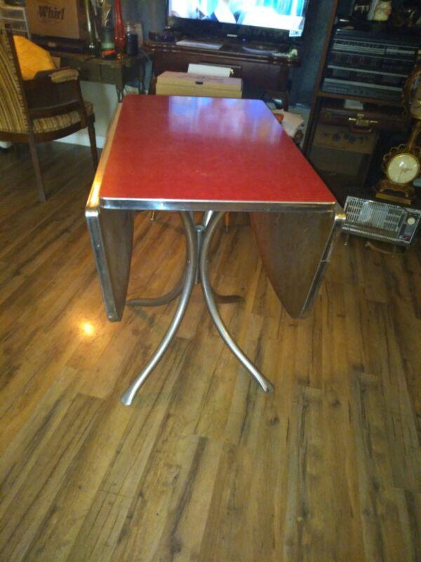 Vintage Red Drop Leaf Chrome/ Formica Dinette Table 1950s MCM