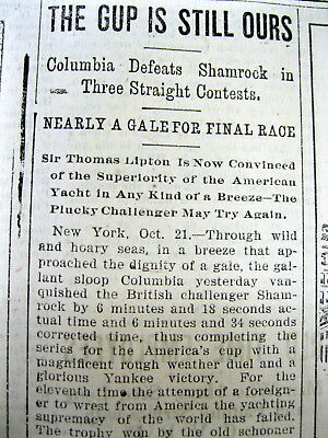 1899 newspaper Sailing Yacht COLUMBIA wins the AMERICAS CUP race-3 straight wins