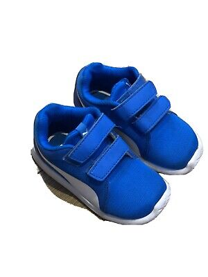 Boys Puma Blue And White Trainers Size 6 (infant)