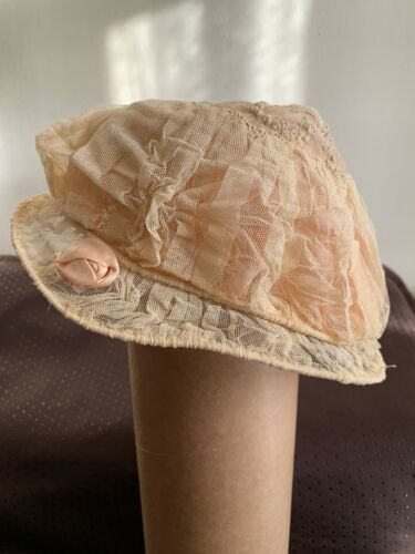 French Edwardian Girl Tulle Bonnet hand embroidered, lined with Pink Silk