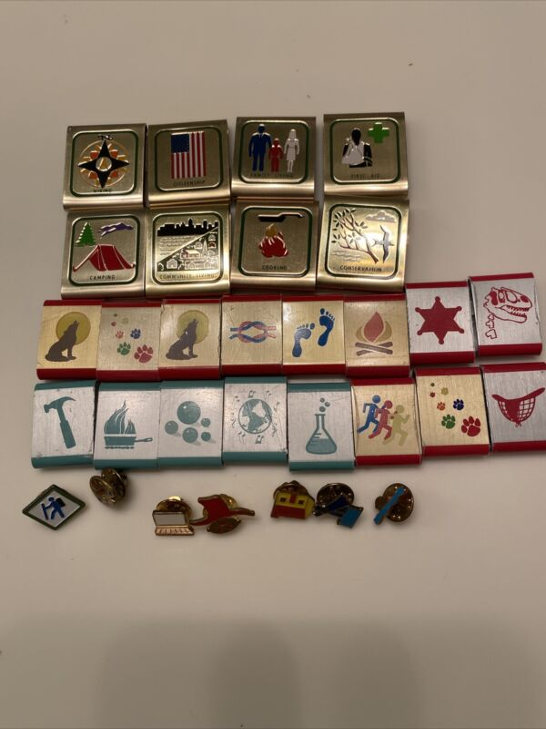 Lot Of31 Cub Boy Scout Belt Loop Achievement Merit Skill Award Badges Pins Metal