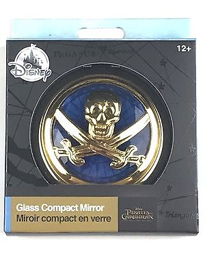 Disney Store Gold Blue Glass Compact Mirror Skull Pirates of the Caribbean (The Blue Mirror)