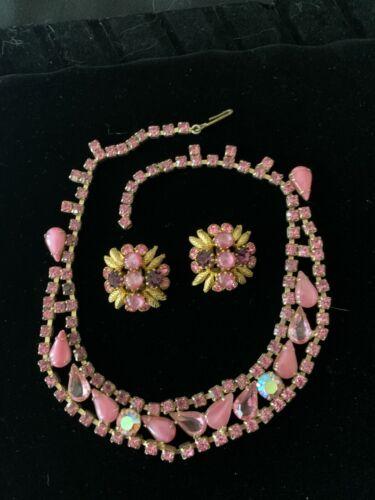 Vintage Pink Prong Set Rhinestone Necklace and earrings set Borealis/art glass