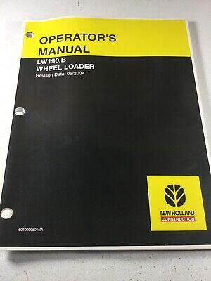 New Holland Lw190.b Wheel Loader Operators Manual