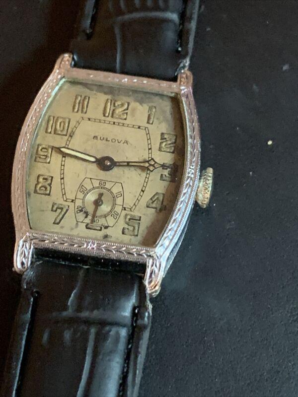 Vintage Mens Deco Bulova 15J 10AN 14K GF Hinged Case Serviced Running