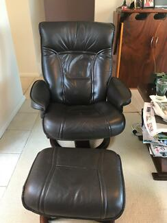 Moran Nordic style leather recliners and footstools (2)