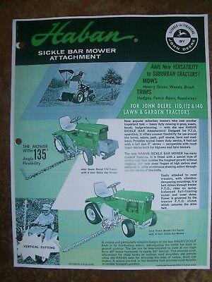 John Deere 110112140 Lawn Garden Tractor Haban Sickle Bar Mower Advertisement