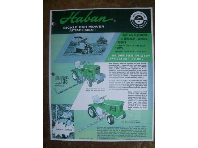 JOHN DEERE 110,112,140 Lawn/ Garden Tractor HABAN