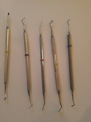 Set Of 5 Dental Hand Instruments Curettes Scalers Used