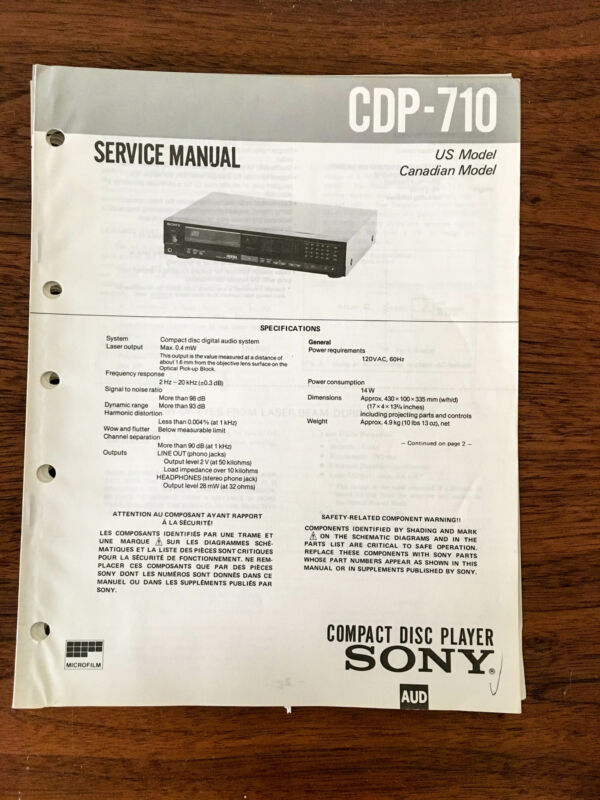 Sony CDP-710  Service Manual *Original* #2