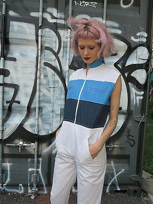 Overall Einteiler hellblau dunkelblau weiß 80er True VINTAGE woman jumpsuit 80s