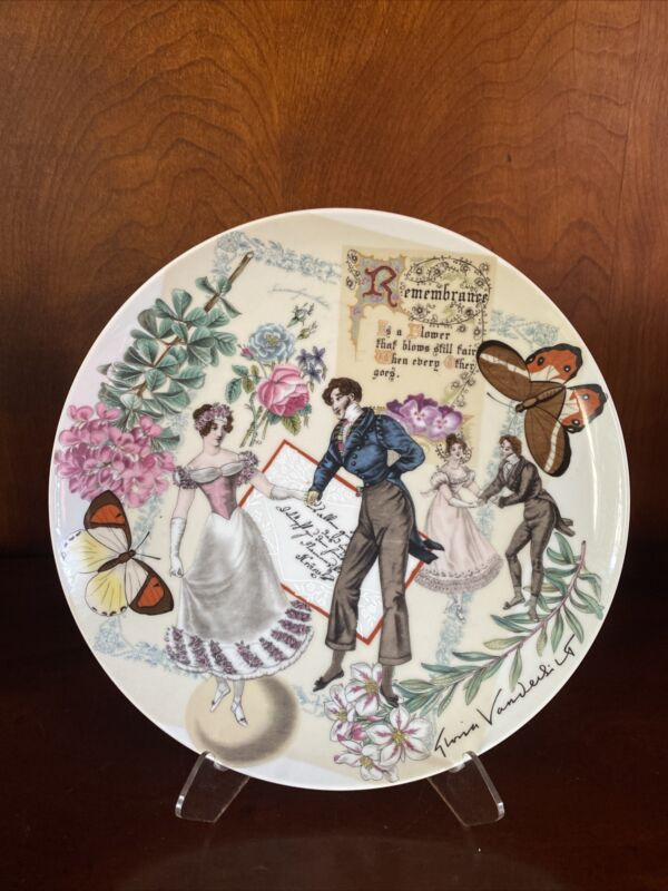 Gloria Vanderbilt Remembrance Collector Plate 1977 Decorative Victorian Cabinet