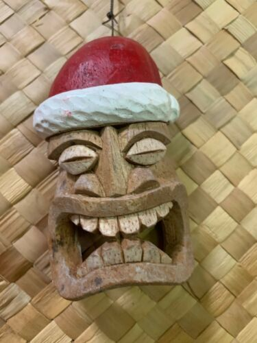 NEW set of 2  Tiki Christmas Ornament Mask Tiki bar Smokin Tikis