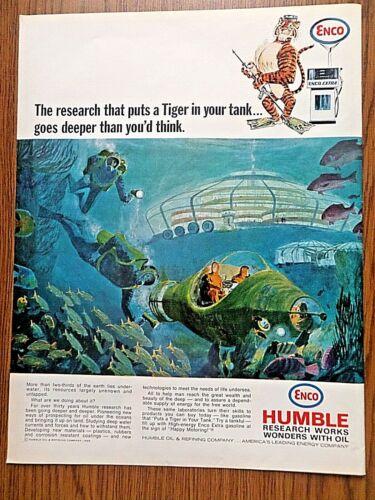 1966 Humble Oil Enco Ad Tiger in Your Tank  Deep Sea Divers Futuristic Theme