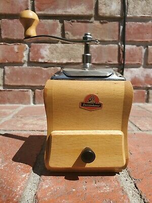 Vintage Zassenhaus 238 Wood Coffee Grinder Germany Hand Wind Nos 1957 - 1965