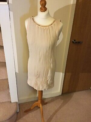 Jovonna London 1960's Style  Dress Size 10 Pleated Detail To Front Nude 4697