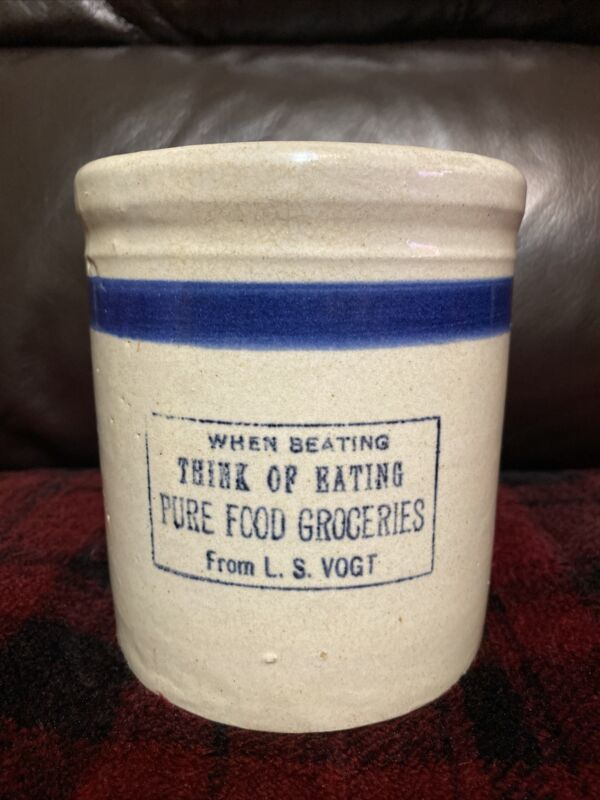 Rare Monmouth Pottery Beater Jar Advertising Monmouth Grocer L. S. Vogt