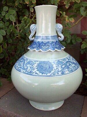 large Chinese porcelain blue on celadon bottle vase with elephant head handles