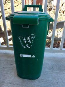 Green garbage/recycling bin