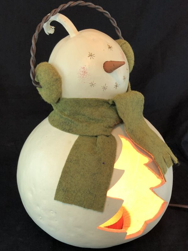 """Meadowbrooke Christmas Snowman Gourd Lamp Holidays Winter Limited Edition 11"""""""
