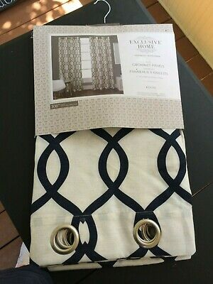 "Exclusive Home KOCHI Indigo 2 Panels 54"" x 108"" Grommet Panels - New"