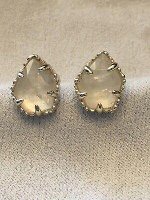 Kendra Scott Tessa Stud Earrings in Rock Crystal in Gold Frames Framed Quartz Earrings
