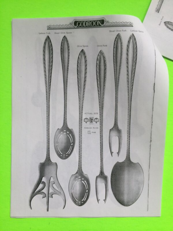 Photocopy of 1900s Catalog for Towle Godroon Sterling Silver Flatware 24 Pages