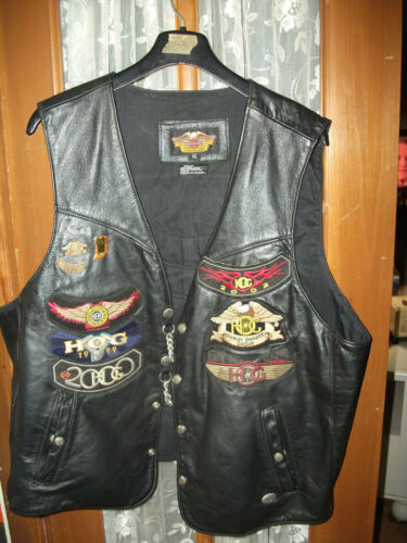 Harley Davidson leather biker vest men