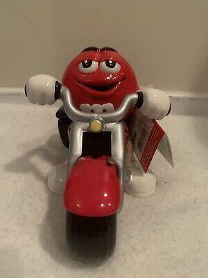 Vintage Red M&M On Motorcycle Bike Ceramic Candy Jar Dish