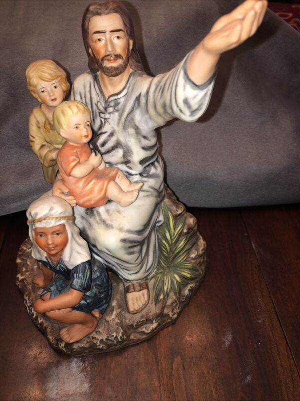 HOMCO Masterpiece Porcelain Jesus and Children Come Unto Me 1983 Home Interior